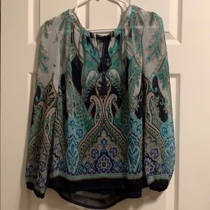 EUC Rose and Olive blouse with tank top lining.